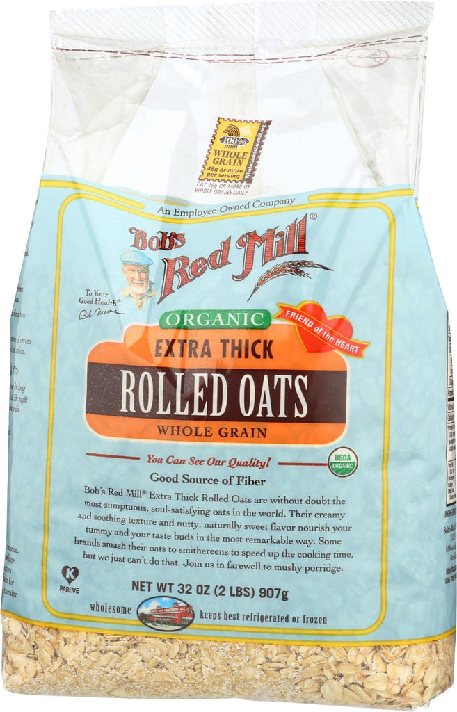 Bob's Red Mill Organic Extra Thick Rolled Oats - 32 Oz - Case Of 4