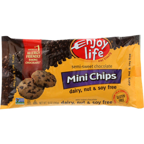 Enjoy Life Baking Chocolate - Mini Chips - Semi-sweet - Gluten Free - 10 Oz - Case Of 12