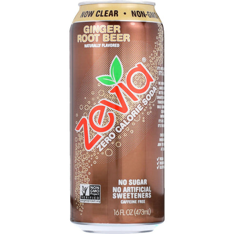 Zevia Soda - Zero Calorie - Ginger Root Beer - Tall Girls Can - 16 Oz - Case Of 12