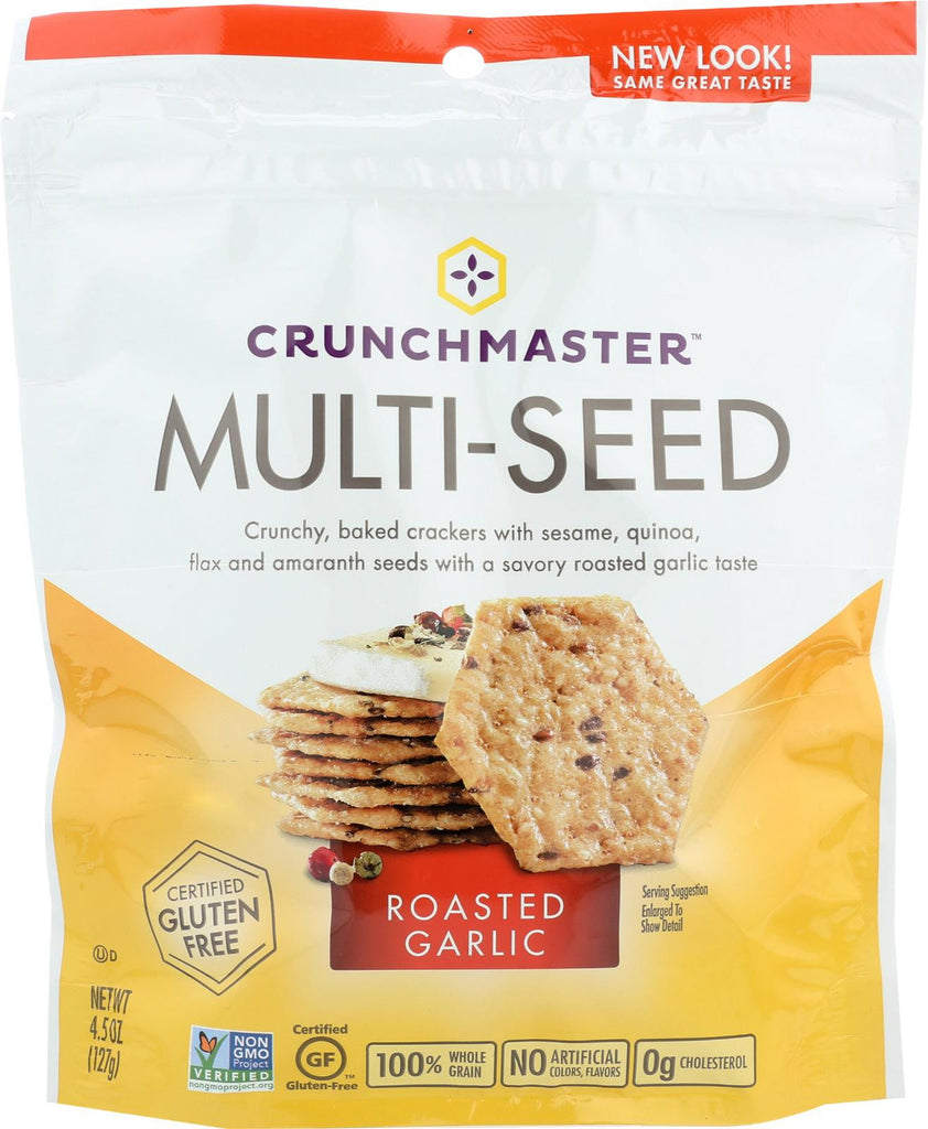 Crunchmaster Multi-seed Crackers - Roasted Garlic - Case Of 12 - 4.5 Oz.
