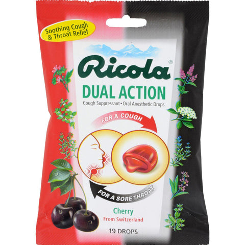 Ricola Dual Action Cough Drops - Cherry - Case Of 12 - 19 Pack