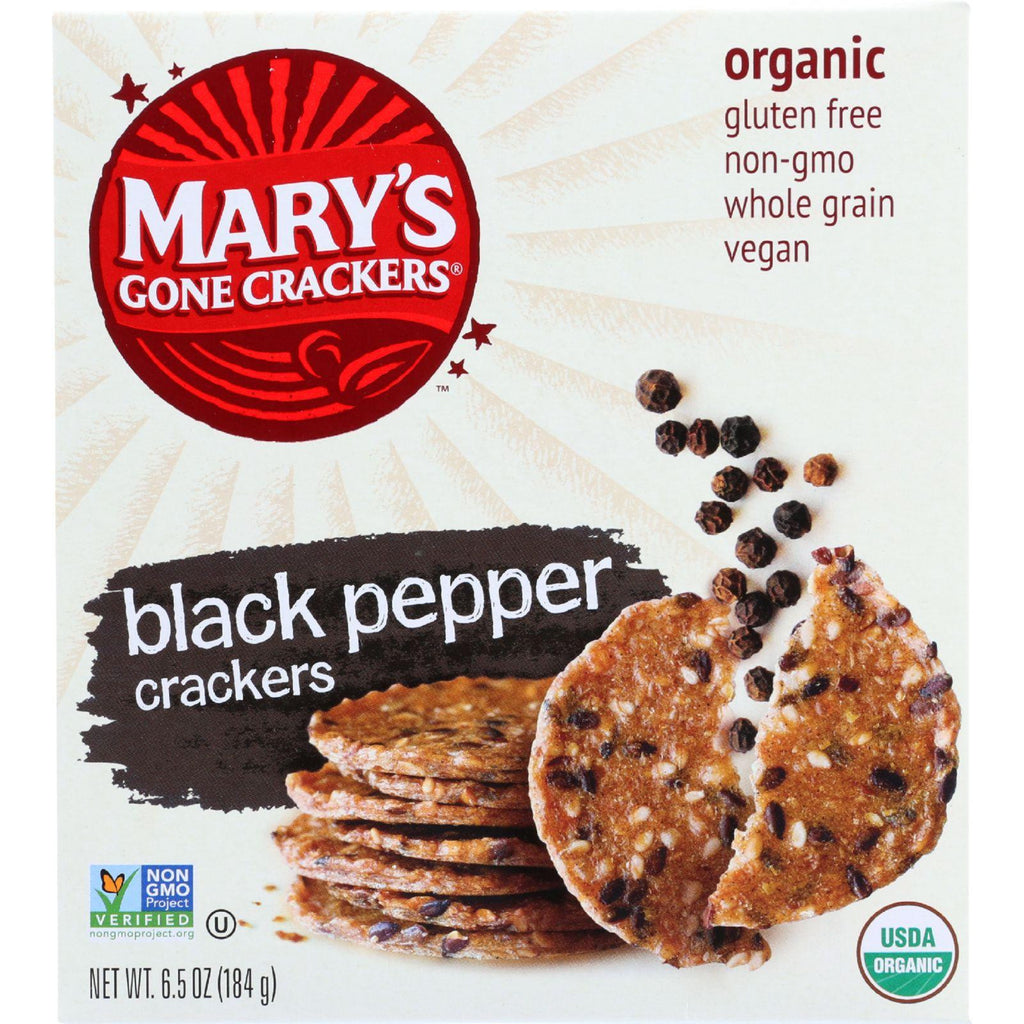 Marys Gone Crackers Crackers - Organic - Black Pepper - Wheat Free - Gluten Free - 6.5 Oz - Case Of 12
