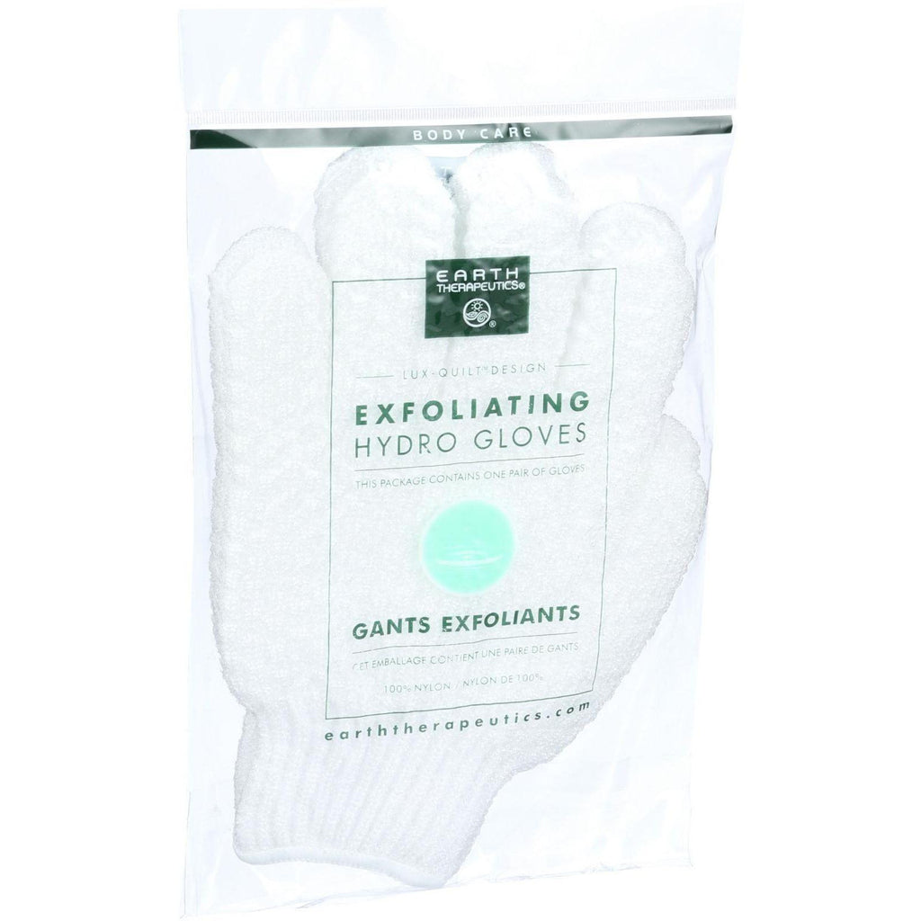Earth Therapeutics Hydro Gloves - Exfoliating - White - 1 Pair
