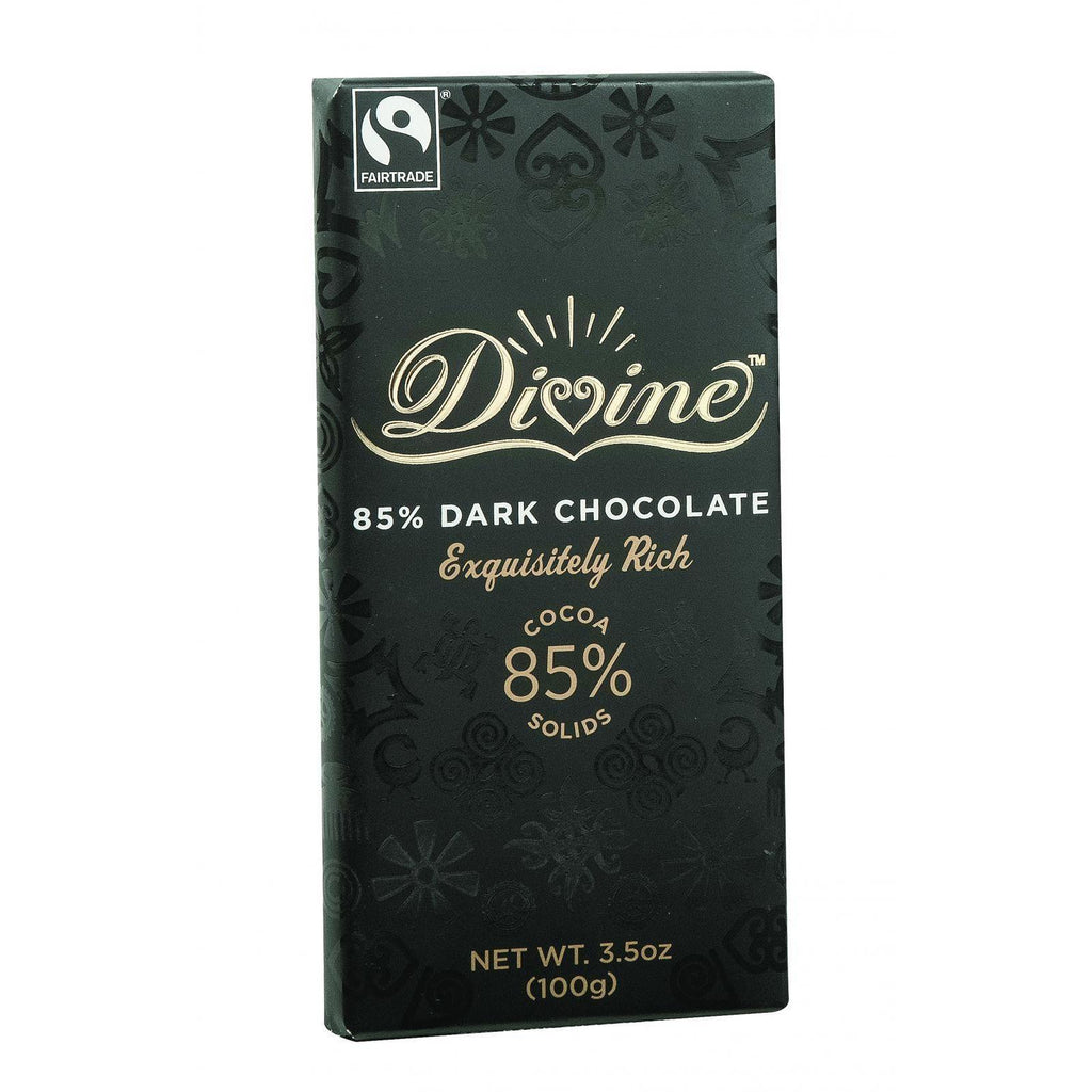 Divine Chocolate Bar - Dark Chocolate - 85 Percent Cocoa - 3.5 Oz Bars - Case Of 10