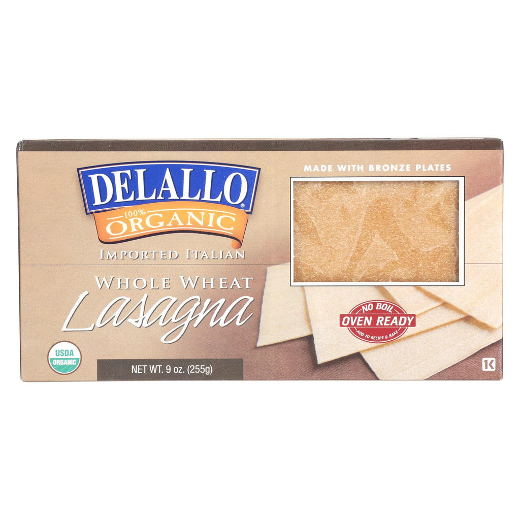 Delallo Organic Whole Wheat Lasagna Pasta - Case Of 12 - 9 Oz.