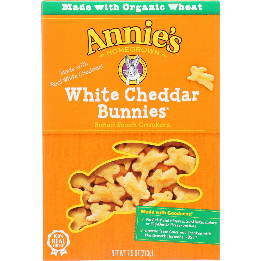 Annies Homegrown Crackers - White Cheddar Bunnies - 7.5 Oz - Case Of 12