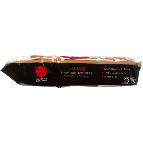 San-j Brown Rice Crackers - Tamari - Plain - 2.8 Oz - Case Of 12