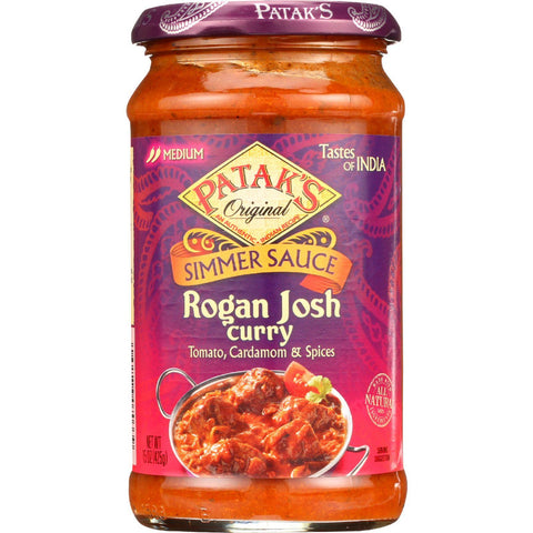 Pataks Simmer Sauce - Rogan Josh Curry - Medium - 15 Oz - Case Of 6