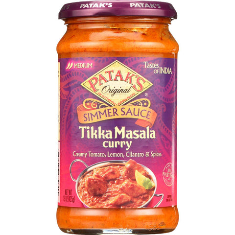Pataks Simmer Sauce - Tikka Masala Curry - Medium - 15 Oz - Case Of 6