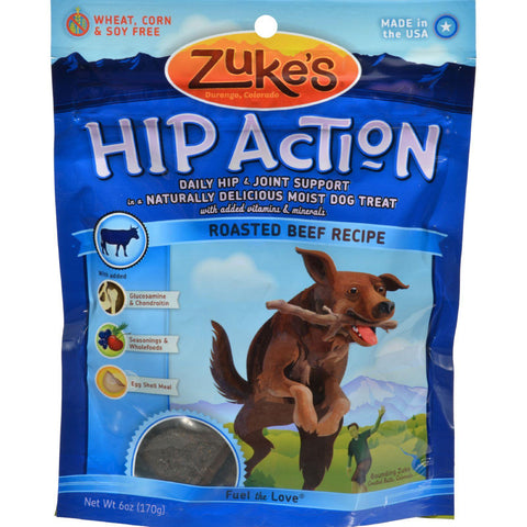 Zuke's Hip Action Dog Treats - Beef Formula - Case Of 12 - 6 Oz