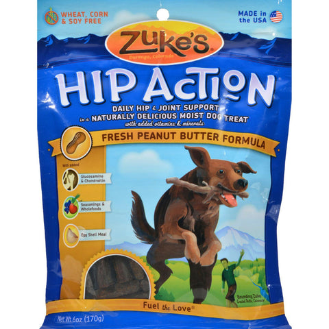 Zuke's Hip Action Dog Treats - Peanut Butter Formula - Case Of 12 - 6 Oz