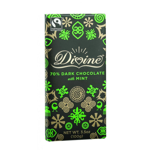 Divine Chocolate Bar - Dark Chocolate - 70 Percent Cocoa - Mint - 3.5 Oz Bars - Case Of 10