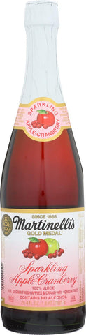 Martinelli's Sparkling Juice - Apple Cranberry - Case Of 12 - 25.4 Fl Oz.