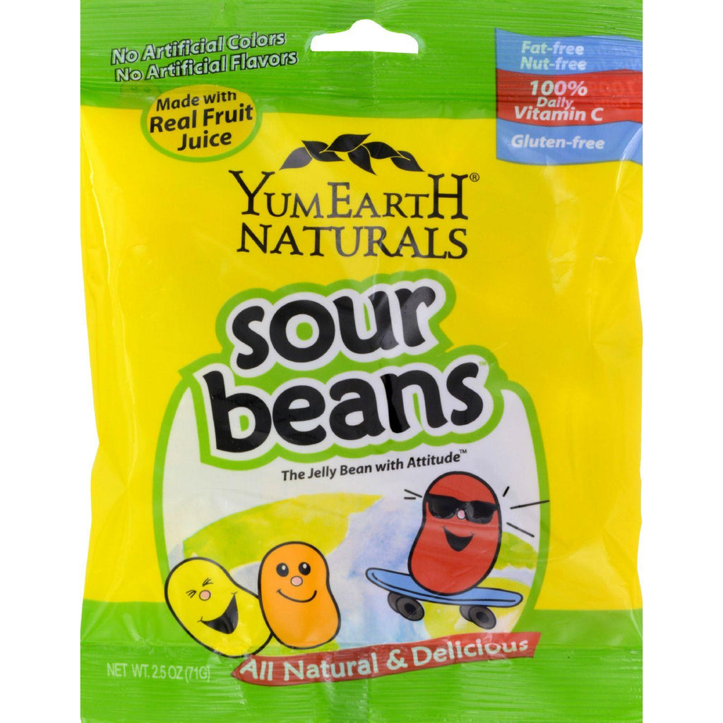 Yummy Earth Naturals Sour Beans - Case Of 12 - 2.5 Oz