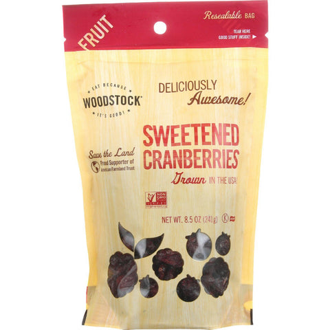 Woodstock Fruit - All Natural - Cranberries - Sweetened - 8.5 Oz - Case Of 8