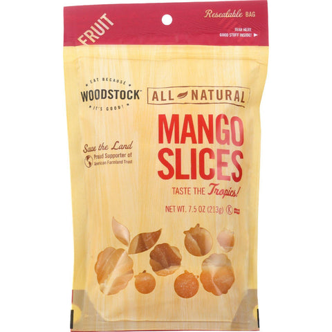 Woodstock Fruit - All Natural - Mango - Slices - Low Sugar - Unsulphured - 7.5 Oz - Case Of 8