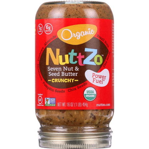 Nuttzo Spread - Organic - Seven Nut And Seed Butter - Crunchy - Without Peanuts - 16 Oz - Case Of 6