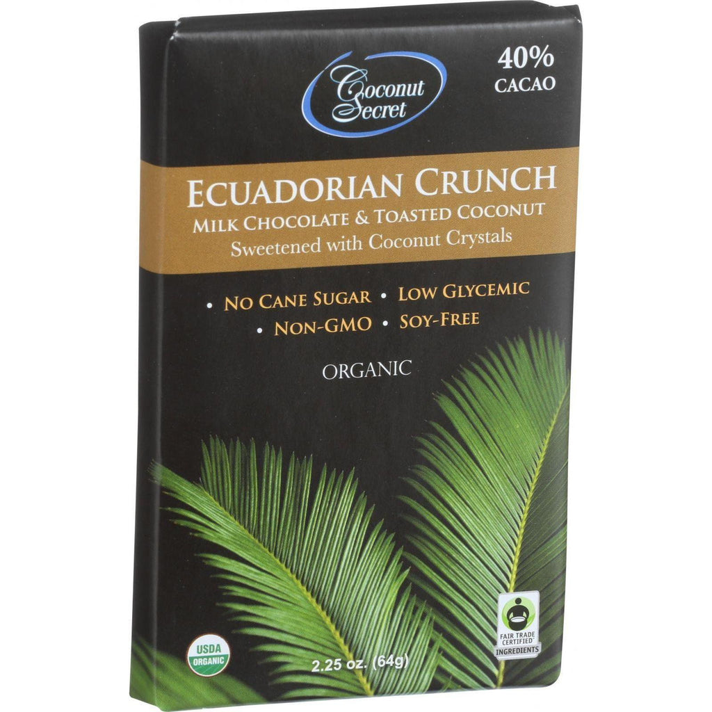 Coconut Secret Organic Chocolate Crunch Bar - Ecuadorian Milk Chocolate Crunch - Case Of 12 - 2.25 Oz Bars