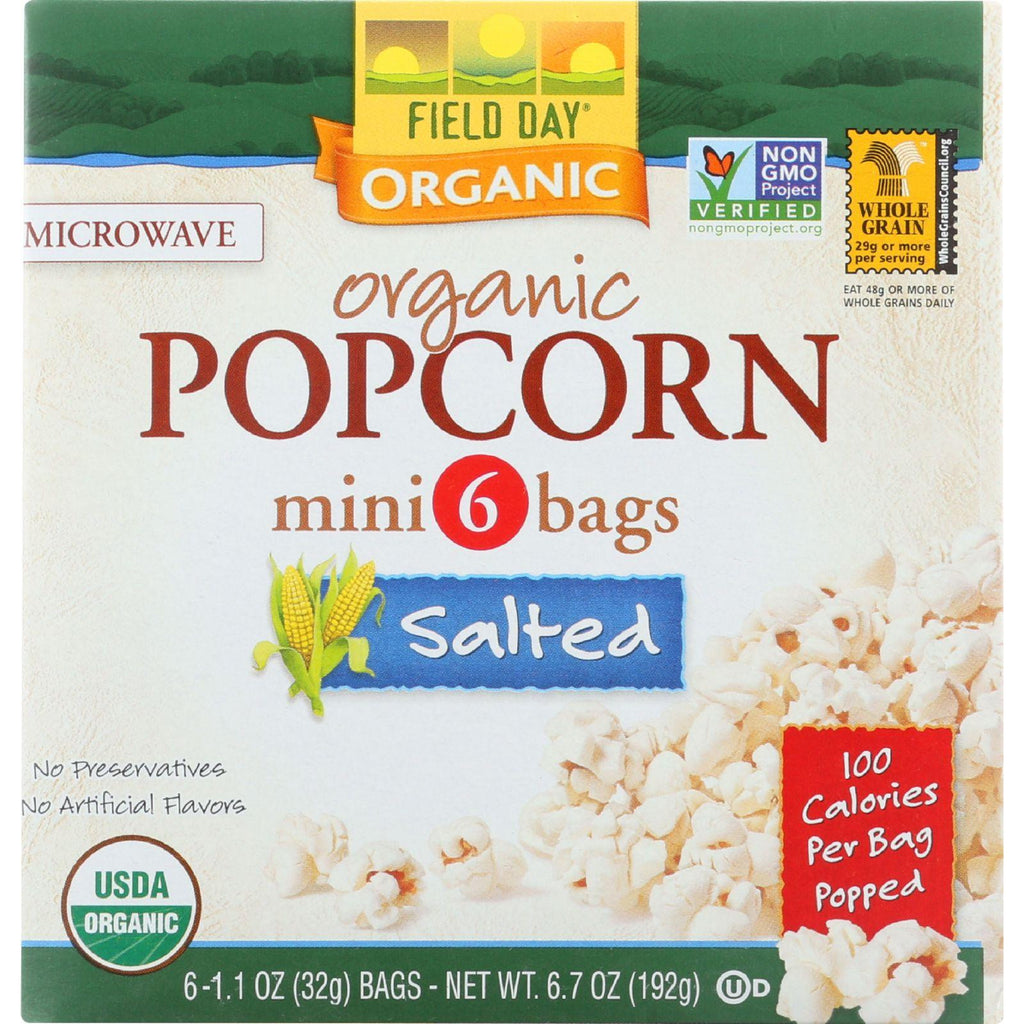 Field Day Microwave Popcorn - Organic - Salted - 100 Calorie - Mini Pack - 6-1.1 Oz - Case Of 6