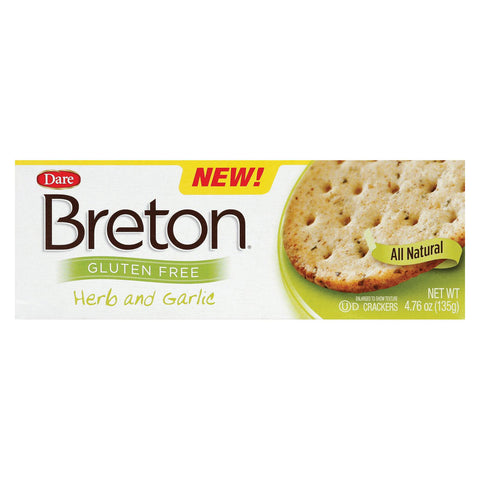 Dare Breton Crackers - Herb And Garlic - Case Of 6 - 4.76 Oz.