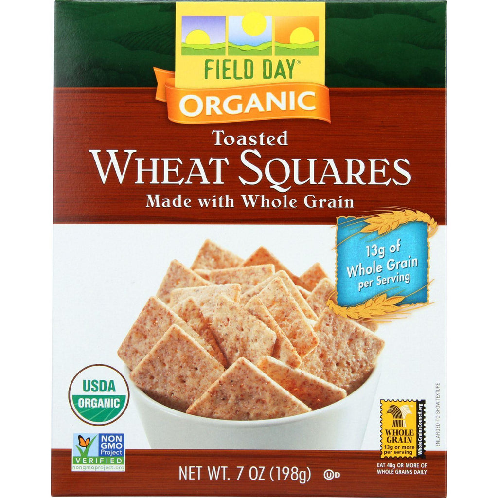 Field Day Crackers - Organic - Toasted Wheat Squares - 7 Oz - Case Of 12