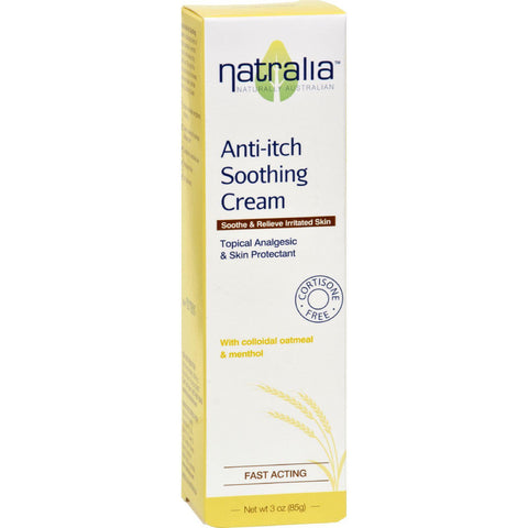 Natralia Anti Itch Soothing Cream - Oatmeal And Menthol - 3 Oz