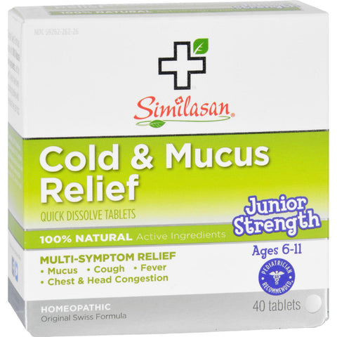 Similasan Cold And Mucus Relief - Junior Strength - Ages 6 To 11 - 40 Tabs