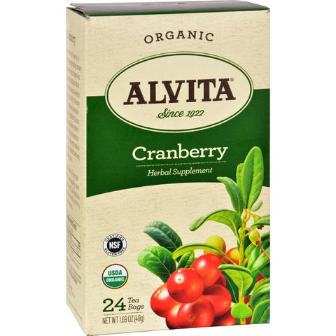 Alvita Tea - Organic - Cranberry Herbal - 24 Tea Bags