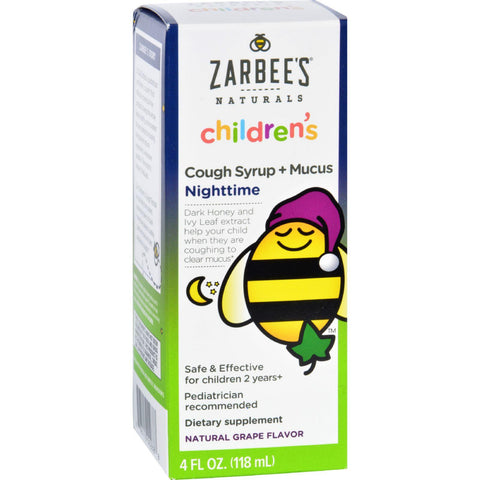 Zarbee's Cough Syrup And Mucus Reducer - Childrens - Nighttime - 4 Oz