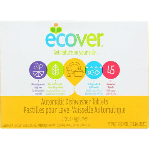 Ecover Automatic Dishwasher Tablets - Citrus - 45 Count - Case Of 5