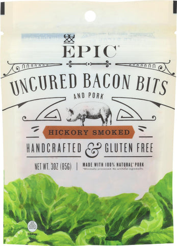 Epic Uncured Bacon Bits - Hickory Smoked - Case Of 10 - 3 Oz.