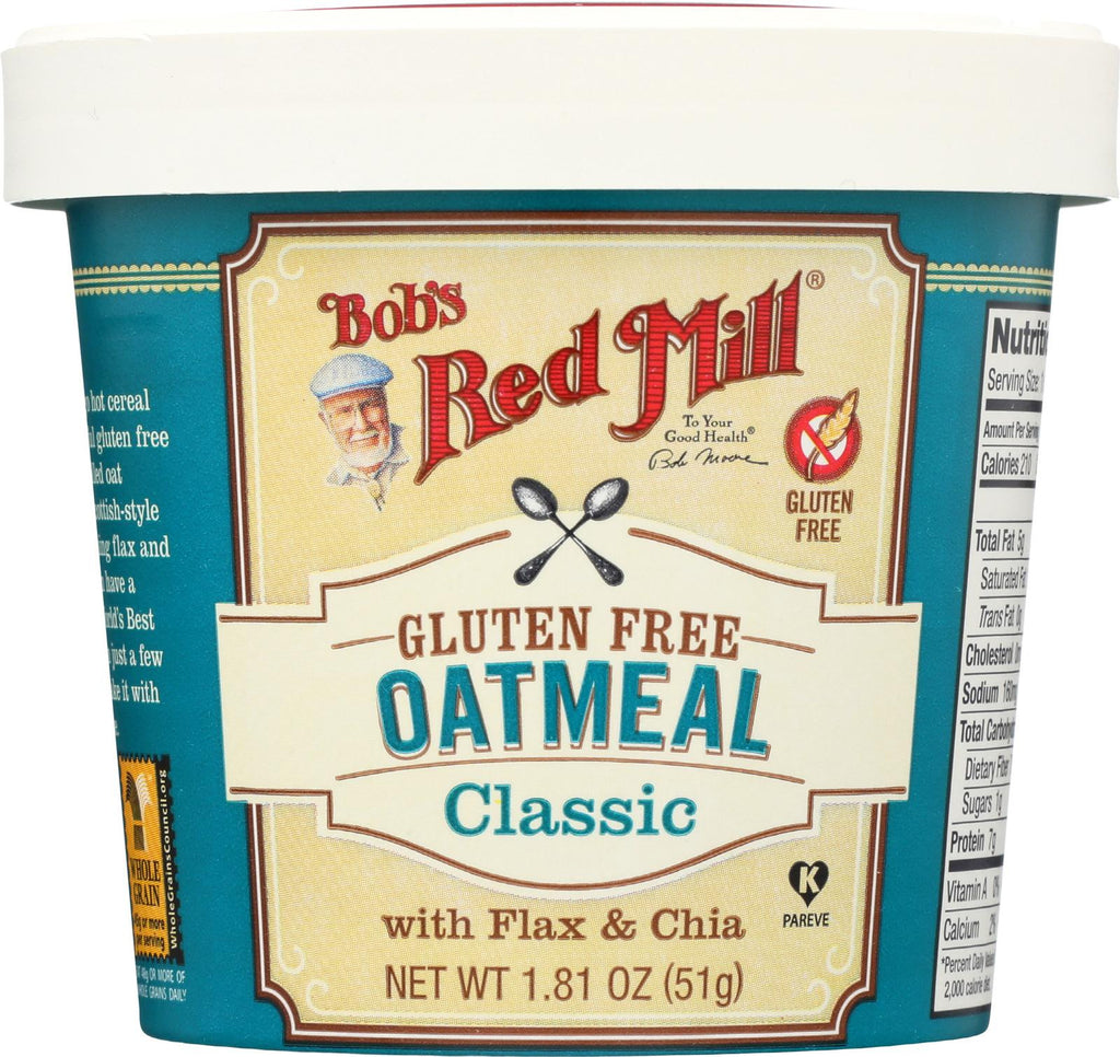 Bob's Red Mill Gluten Free Oatmeal Cup, Classic With Flax-chia - 1.81 Oz - Case Of 12