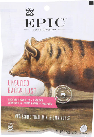 Epic Trail Mix - Uncured Bacon Lust - Case Of 8 - 2.25 Oz.