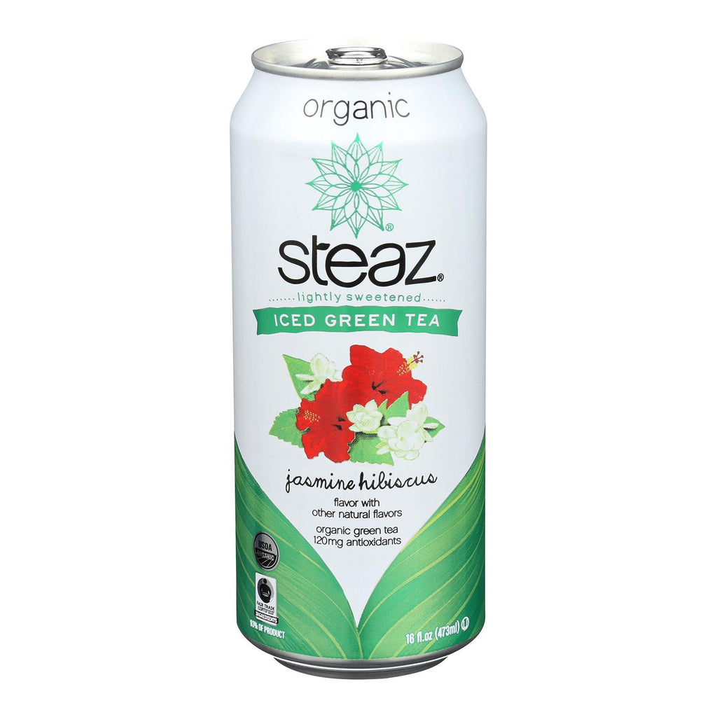 Steaz Lightly Sweetened Green Tea - Jasmine Hibiscus - Case Of 12 - 16 Fl Oz.