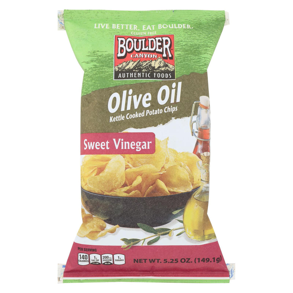 Boulder Canyon Natural Foods Kettle Chips - Sweet Vinegar - Case Of 12 - 5.25 Oz.