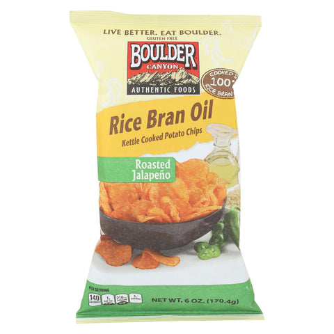 Boulder Canyon Natural Foods Rice Bran Oil Kettle Cooked Potato Chips - Roasted Jalapeno - Case Of 12 - 6 Oz