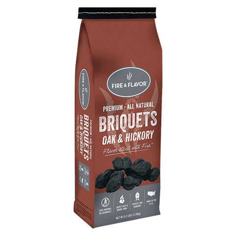 Fire And Flavor Charcoal - Briquet - Oak - Hick - Case Of 6 - 8.3 Lb.