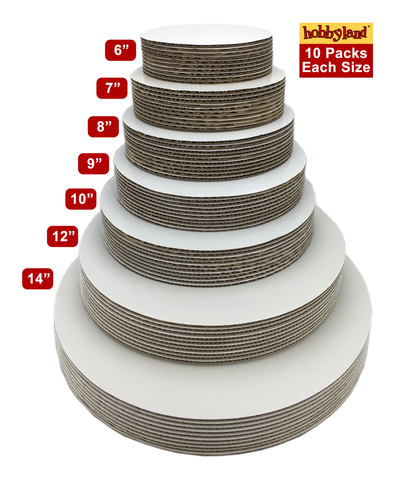 "Hobbyland Cake Boards White Round (12"", 10 Pack)"