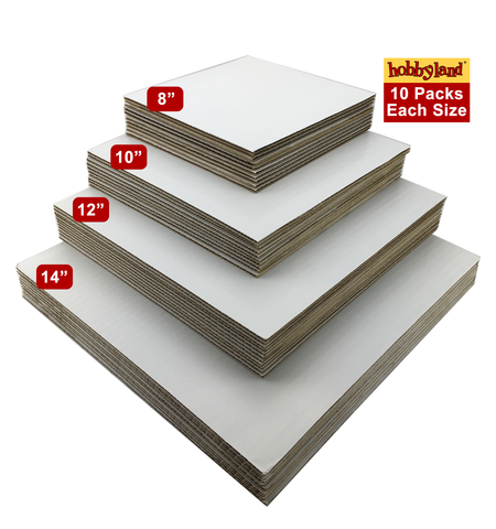 "Hobbyland Cake Boards White Square (12"", 10 Pack)"