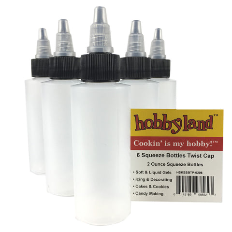 Hobbyland Squeeze Bottles with Twist Cap (2 oz, 6 Pack)