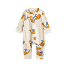 Mini Rodini Whale Onesie - Orange *PRE-ORDER