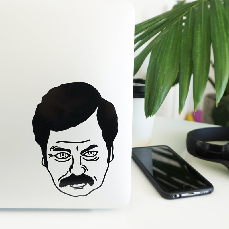 RON SWANSON FACE Decal Sticker