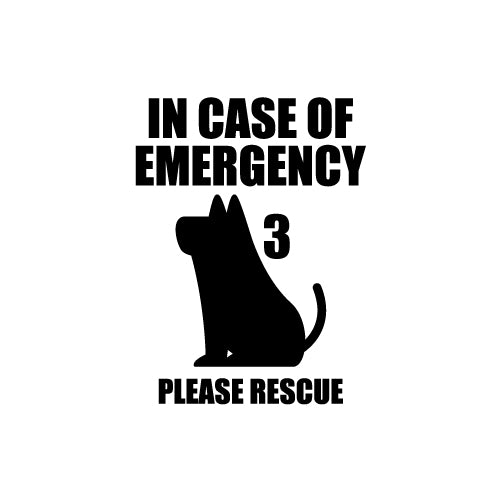 DOG IN CASE OF EMERGENCY PLEASE RESCUE Decal Sticker