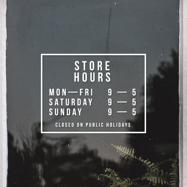 PERSONALISED Store Hours Outline Decal Sticker