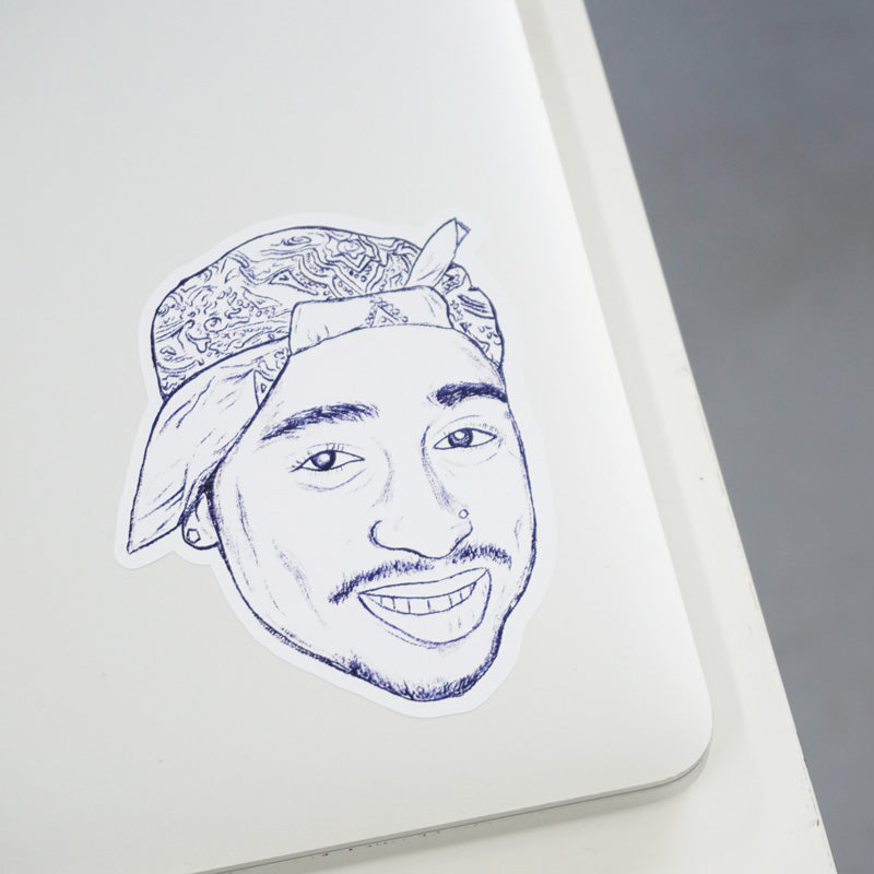 Tupac Blue Ink Printed Sticker