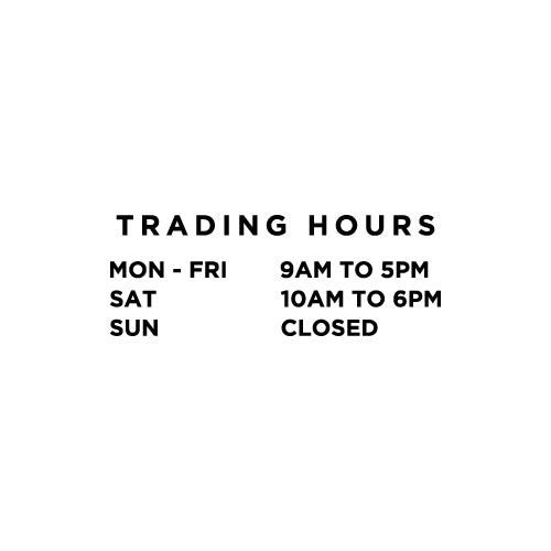 PERSONALISED Trading Hours 3 Rows Decal Sticker