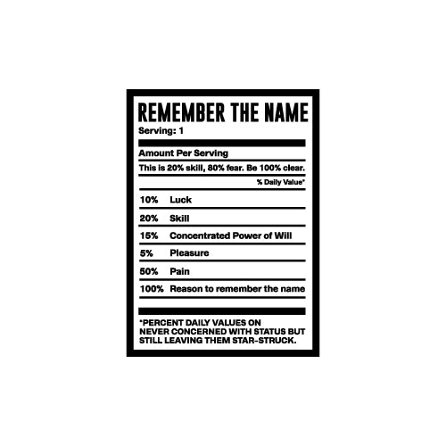 REMEMBER THE NAME Wall Decal Sticker