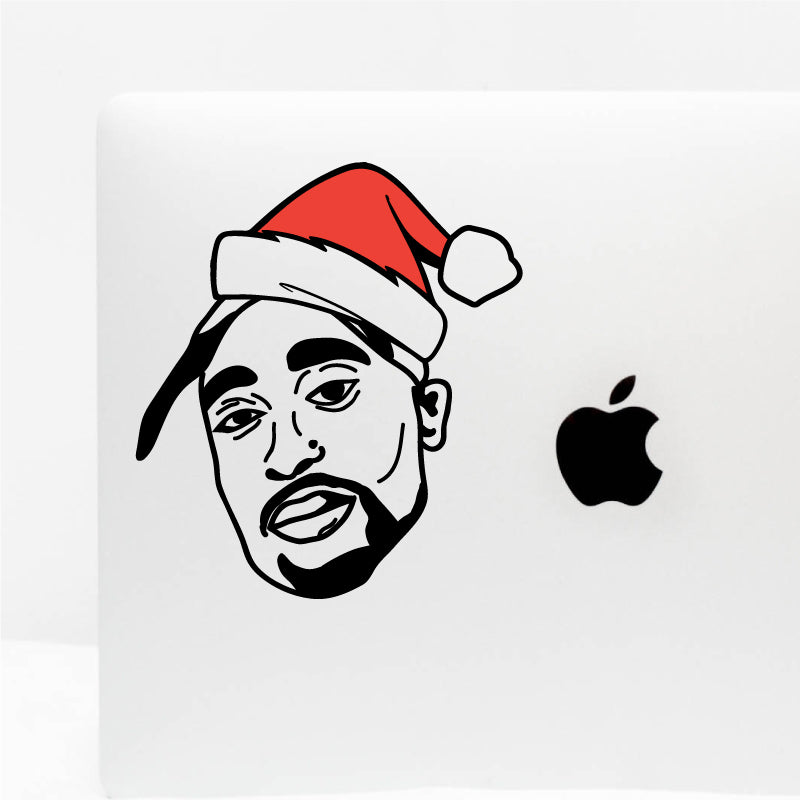 CHRISTMAS HAT TUPAC Decal Sticker