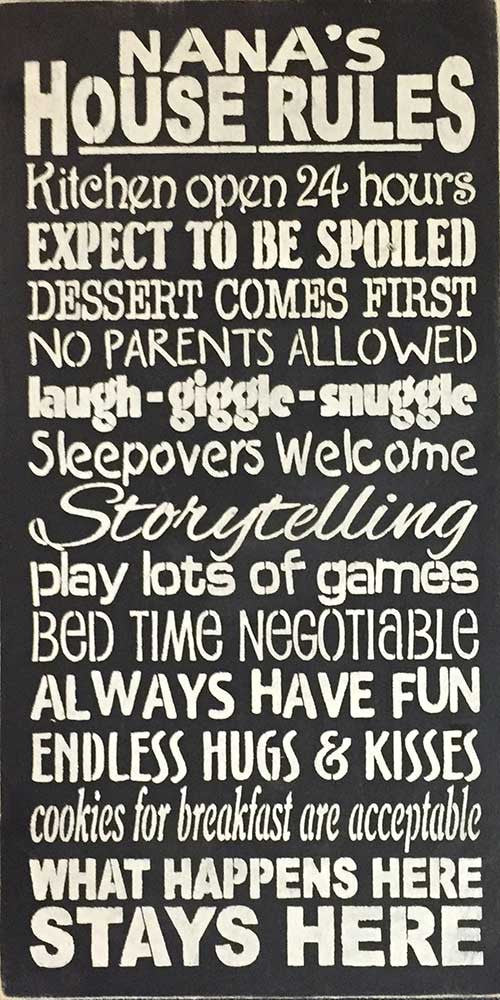 "12"" x 24"" Nana's House Rules..."
