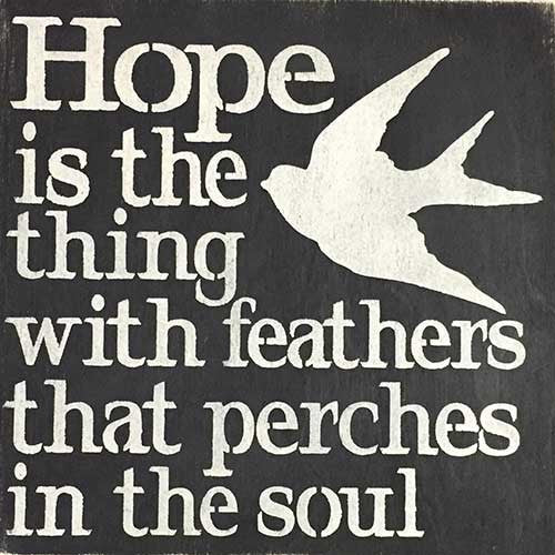 "12"" x 12"" Hope is the Thing with Feathers"